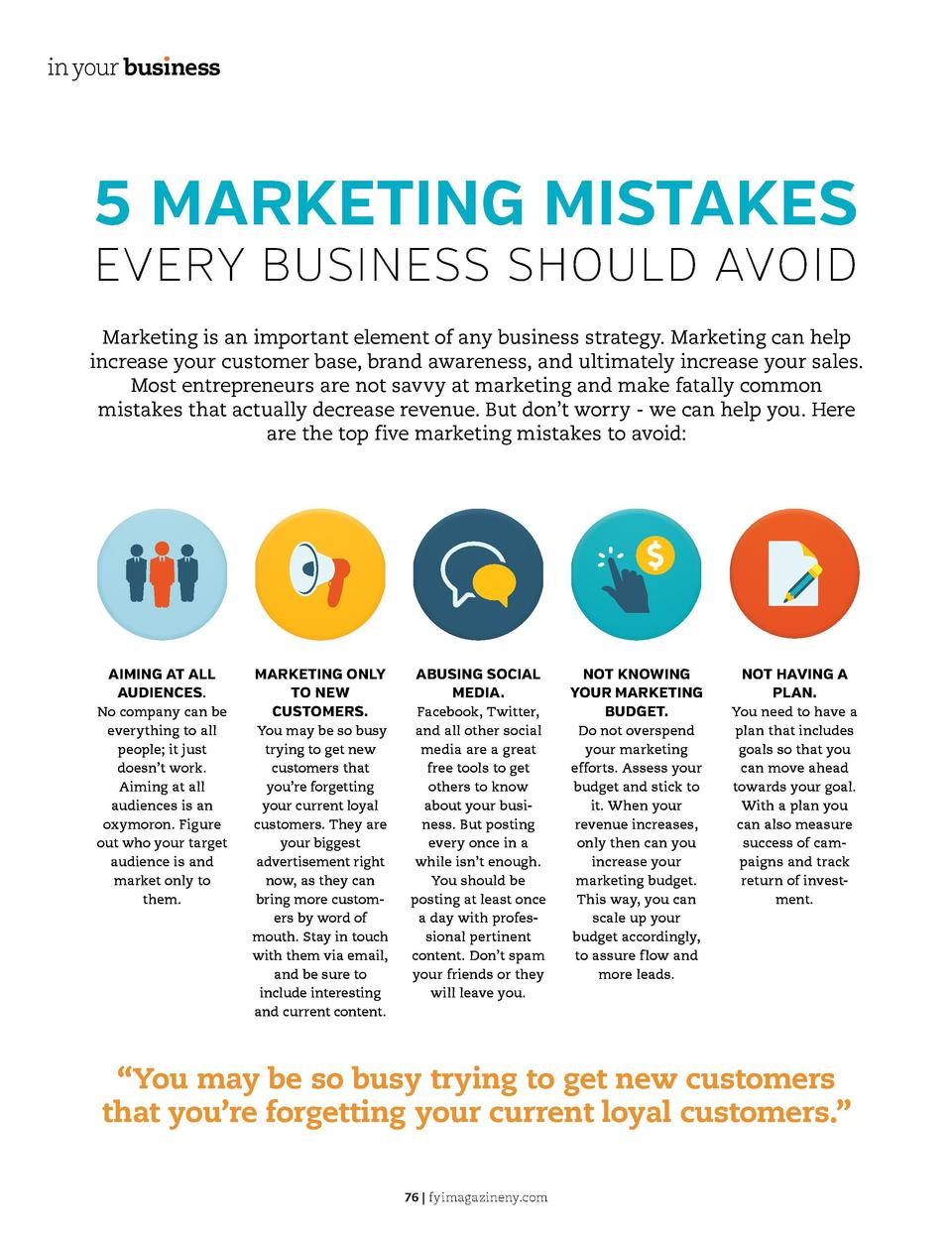 in your bus  ness  in your bus  ness  5 MARKETING MISTAKES  EVERY BUSINESS SHOULD AVOID Marketing is an important element ...