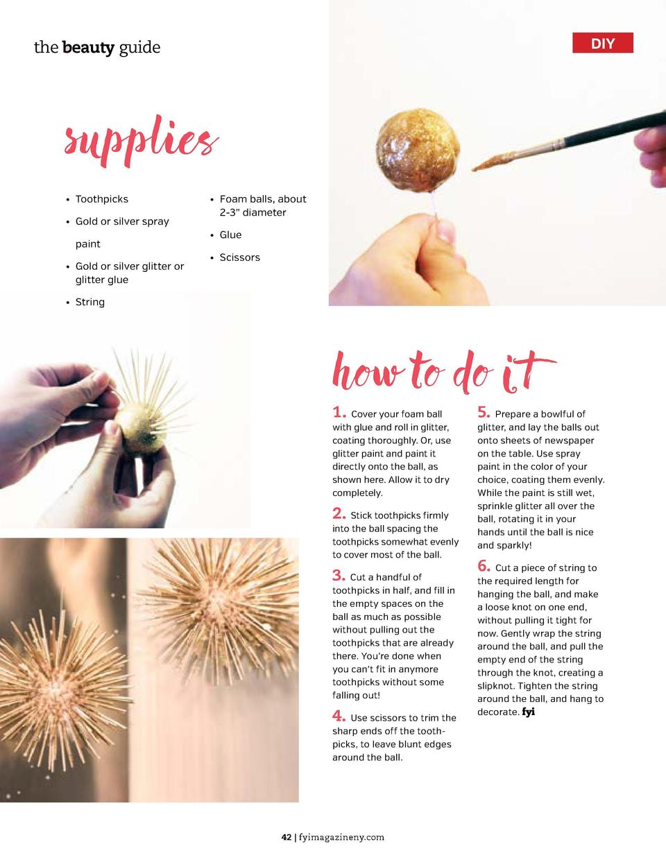 DIY  the beauty guide  supplies      Toothpicks      Gold or silver   spray paint      Gold or silver   glitter or glitter...