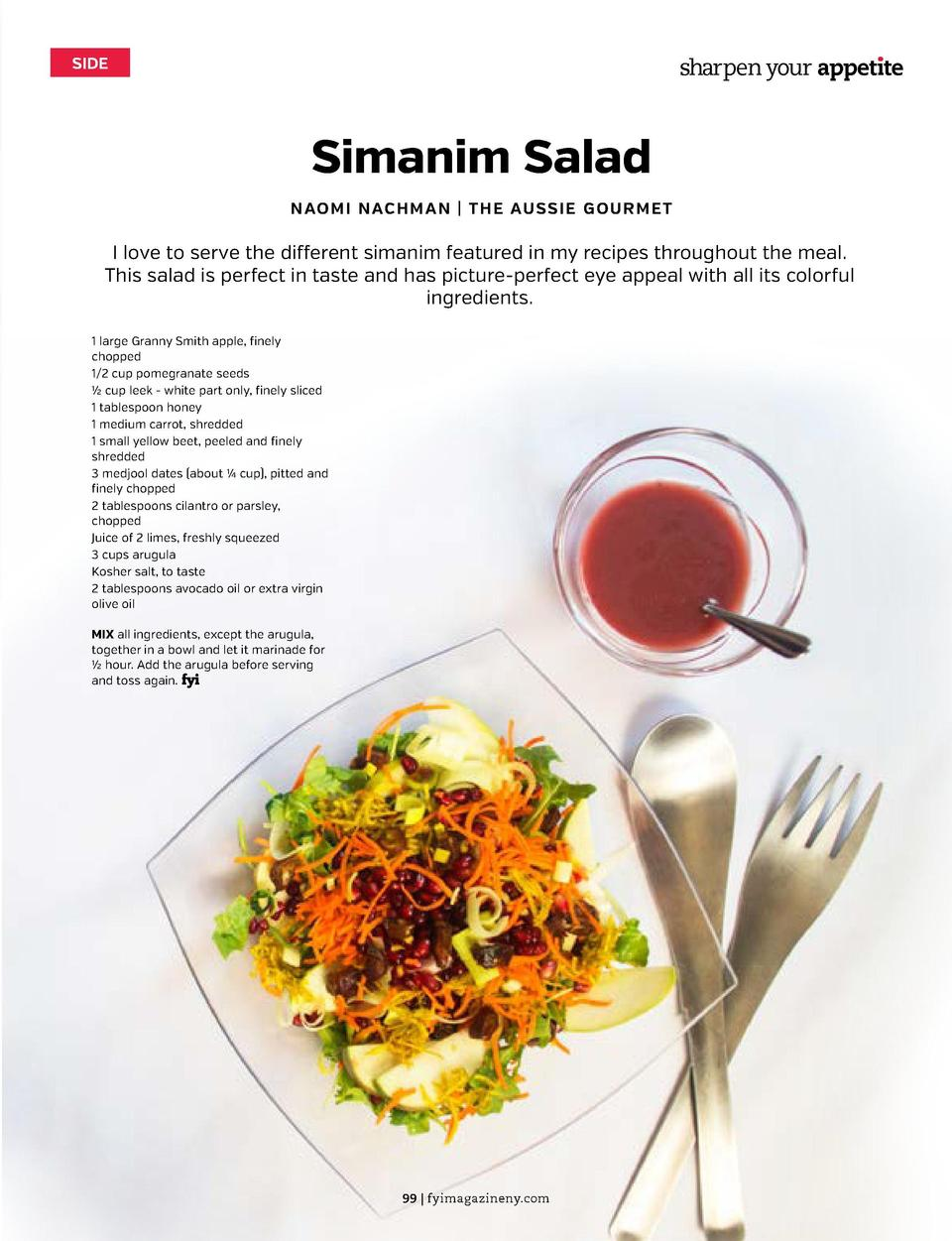 SIDE  sharpen your appet  te  sharpen your appet  te  SIDE  Orange-Tarragon Roasted Carrots  Simanim Salad  DINI KLEIN   D...