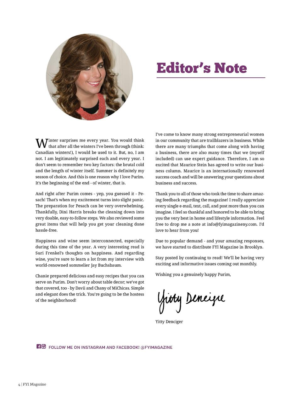 Letters to the Editor Editor   s Note Editor Yitty Denciger Art   Marketing Tzivia Cohen Sandbox Marketing  inter surprise...