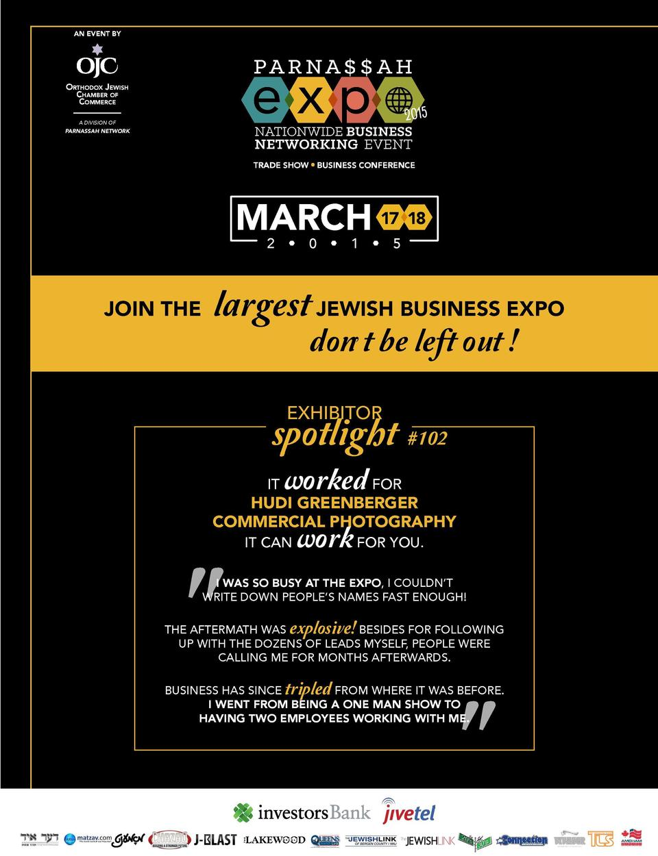 AN EVENT BY  PA R NA     A H  OrthOdOx Jewish Chamber Of COmmerCe  featuring  PA R NA     A H 2015  NATIONWIDE BUSINESS  N...