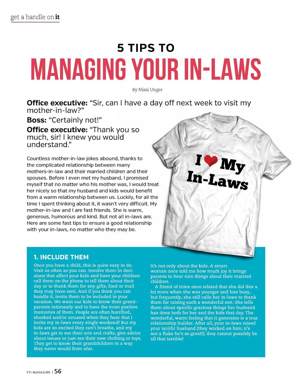 get a handle on   t  get a handle on   t  5 TIPS TO  MANAGING YOUR IN-LAWS By Nissi Unger  Office executive     Sir, can I...