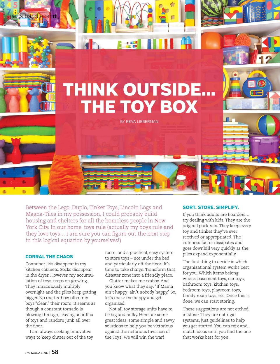 get a handle on   t  get a handle on   t BOOK    EM  THINK OUTSIDE    THE TOY BOX BY REVA LIEBERMAN  CUT THE CLUTTER  Shel...