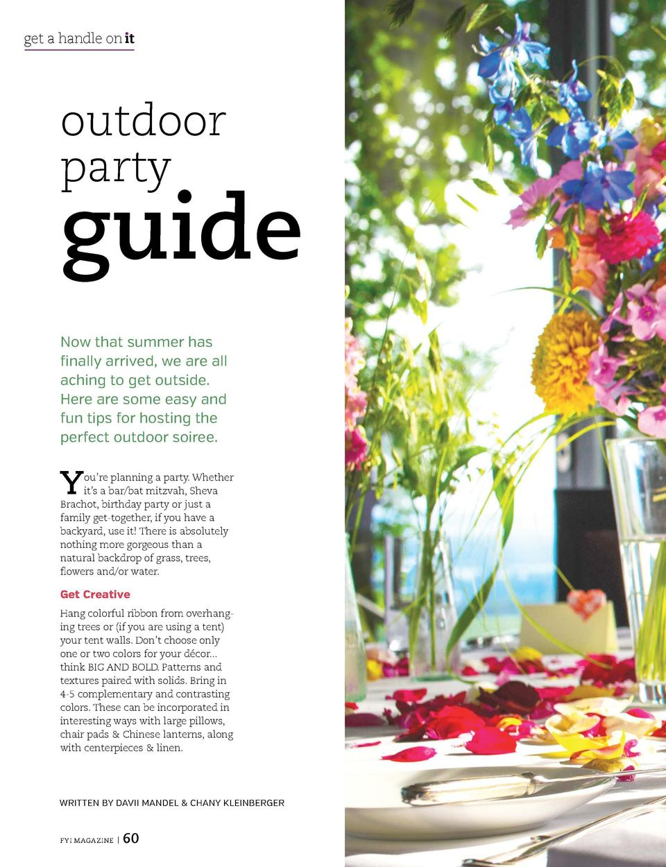 get a handle on   t  outdoor party  guide Now that summer has finally arrived, we are all aching to get outside. Here are ...