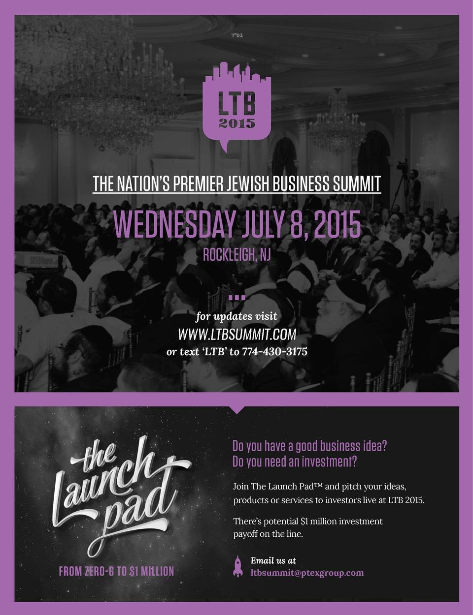 sharpen your appetite                   THE NATION   S PREMIER JEWISH BUSINESS SUMMIT  WEDNESDAY JULY 8, 2015 ROCKLEIGH, N...