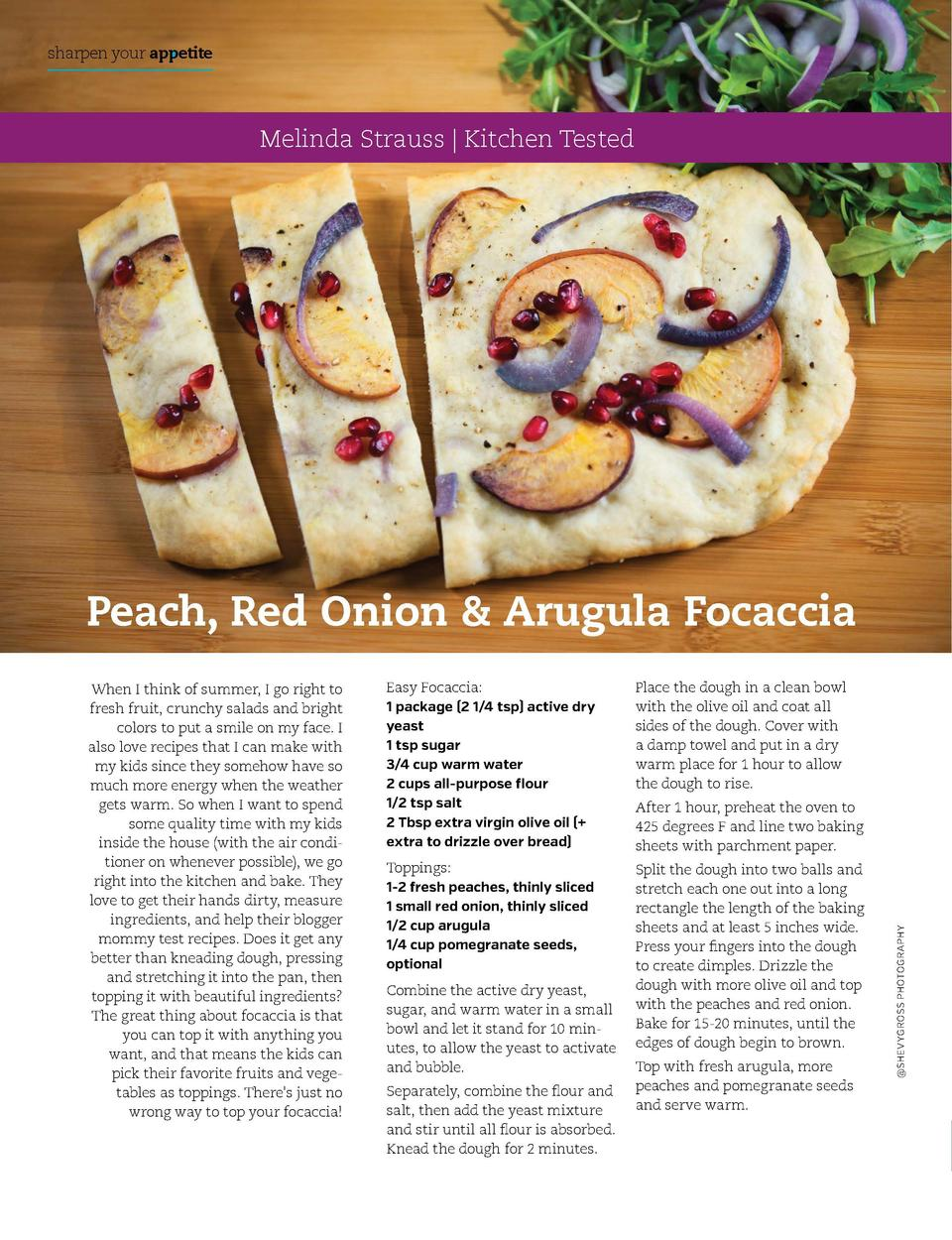 sharpen your appetite  sharpen your appetite  Melinda Strauss   Kitchen Tested  Peach, Red Onion   Arugula Focaccia Easy F...