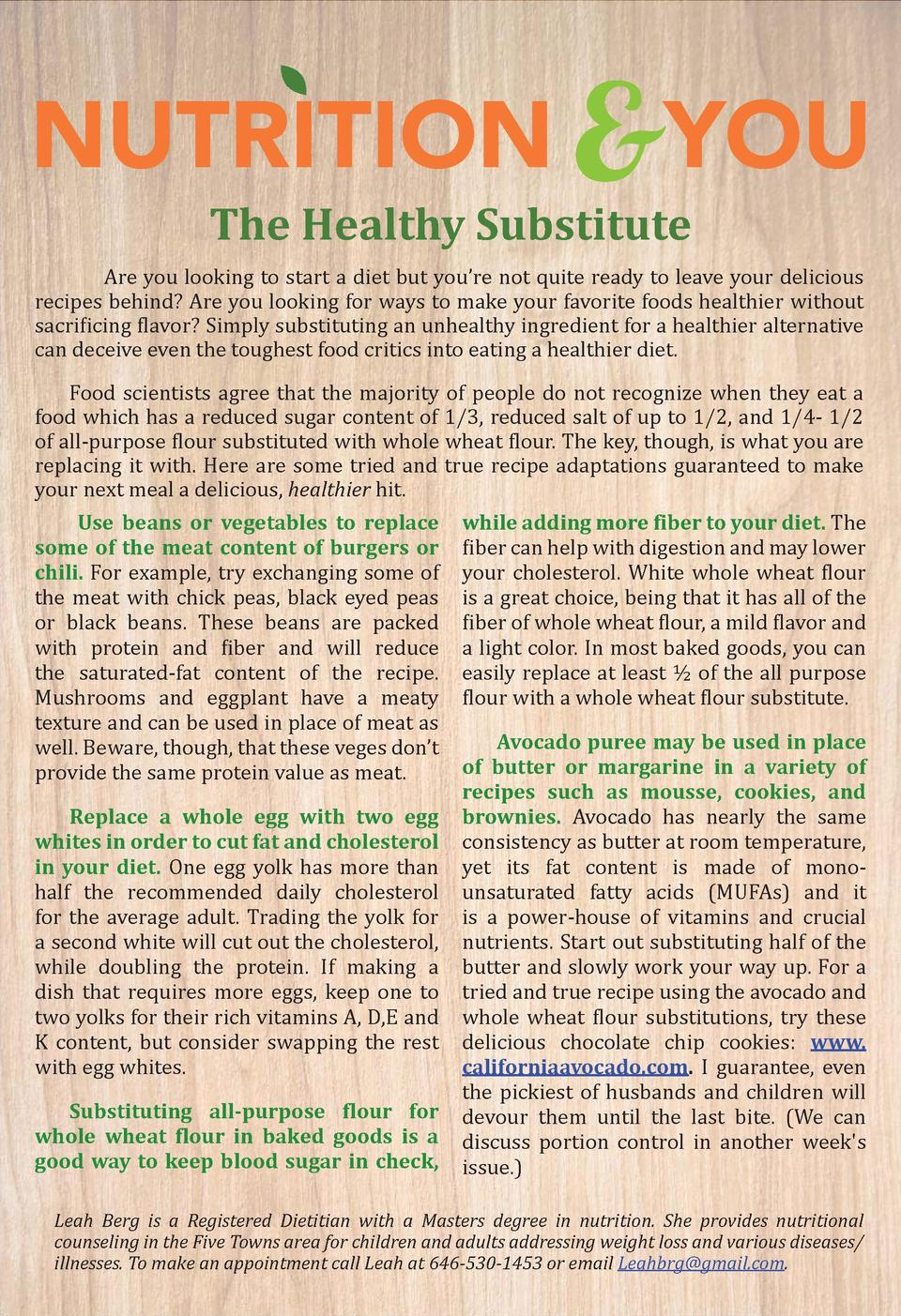 www.   vetownslink.com  NUTRITION  YOU The Healthy Substitute  Are you looking to start a diet but you   re not quite read...