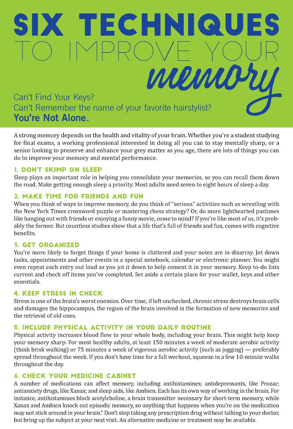SIX techniques  memory  to improve your Can t Find Your Keys  Can t Remember the name of your favorite hairstylist   You r...