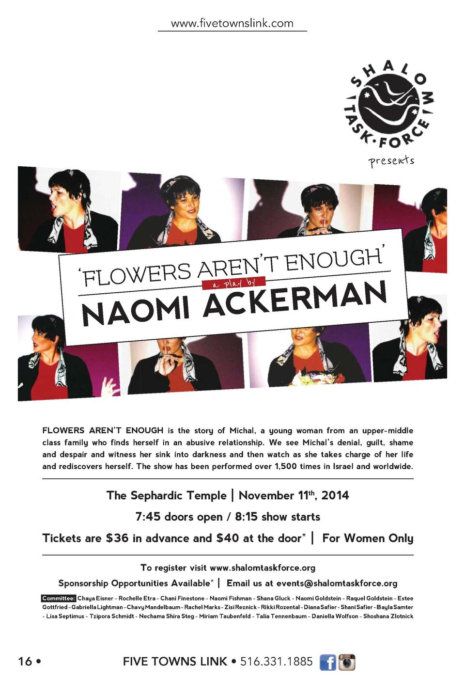 www.   vetownslink.com  presents  H    R ay by Aa plEN   T ENOUG    FLOWERS  ACKERMAN NAOMI  FLOWERS AREN   T ENOUGH is th...