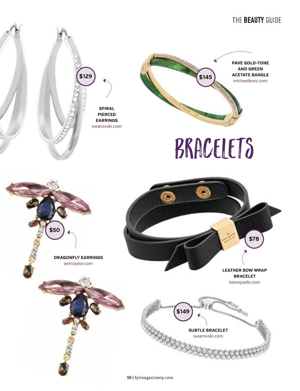 THE BEAUTY GUIDE  THE BEAUTY GUIDE  Necklaces   129  PAVE GOLD-TONE AND GREEN ACETATE BANGLE michaelkors.com   145   48 SP...