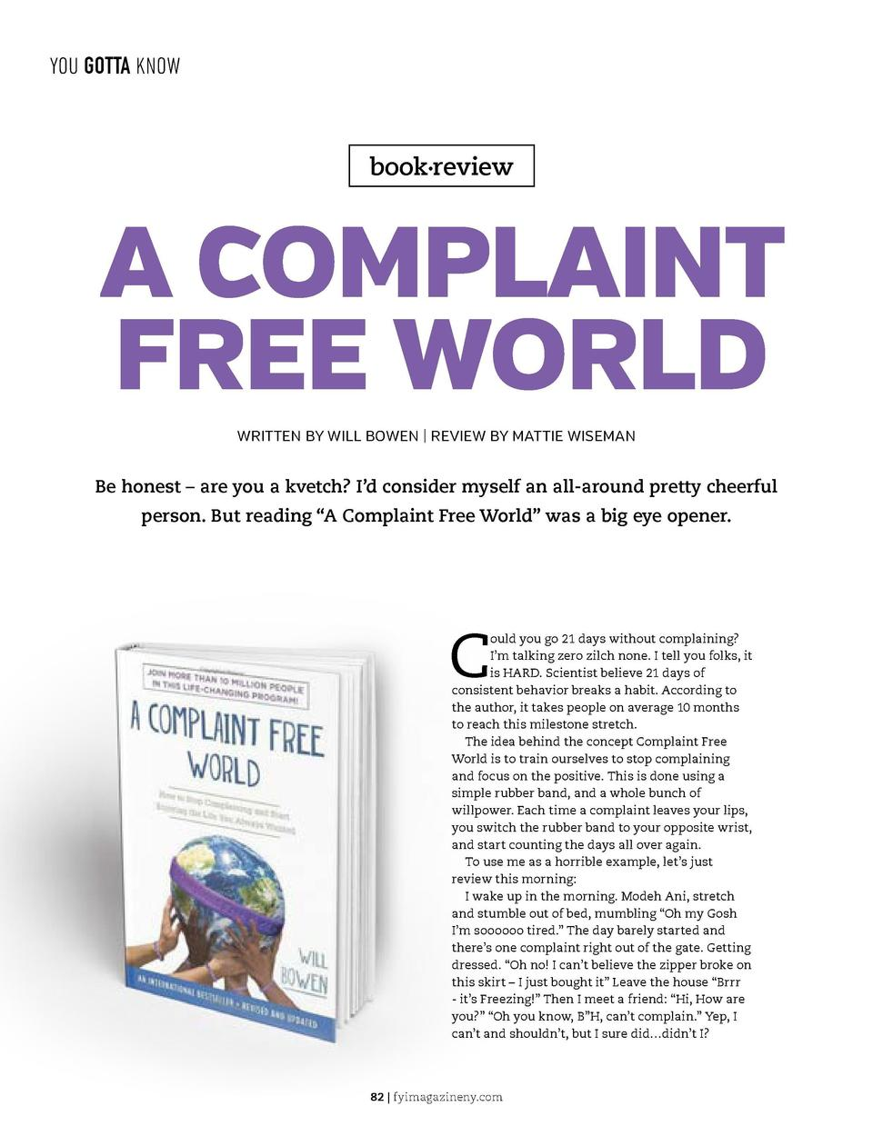 YOU GOTTA KNOW  YOU GOTTA KNOW  book   review  A COMPLAINT FREE WORLD WRITTEN BY WILL BOWEN   REVIEW BY MATTIE WISEMAN  Be...