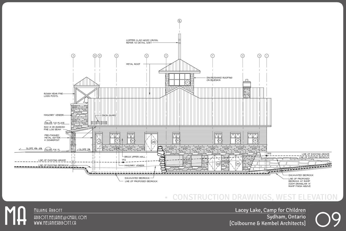 MA       CONSTRUCTION DRAWINGS, WEST ELEVATION Melanie Abbott ABBOTT.MELANIE GMAIL.COM WWW.MELANIEABBOTT.CA  Lacey Lake, C...