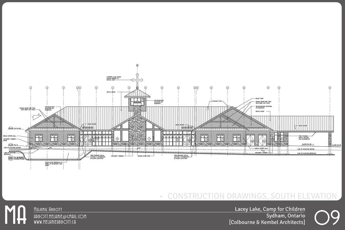 MA       CONSTRUCTION DRAWINGS, SOUTH ELEVATION Melanie Abbott ABBOTT.MELANIE GMAIL.COM WWW.MELANIEABBOTT.CA  Lacey Lake, ...
