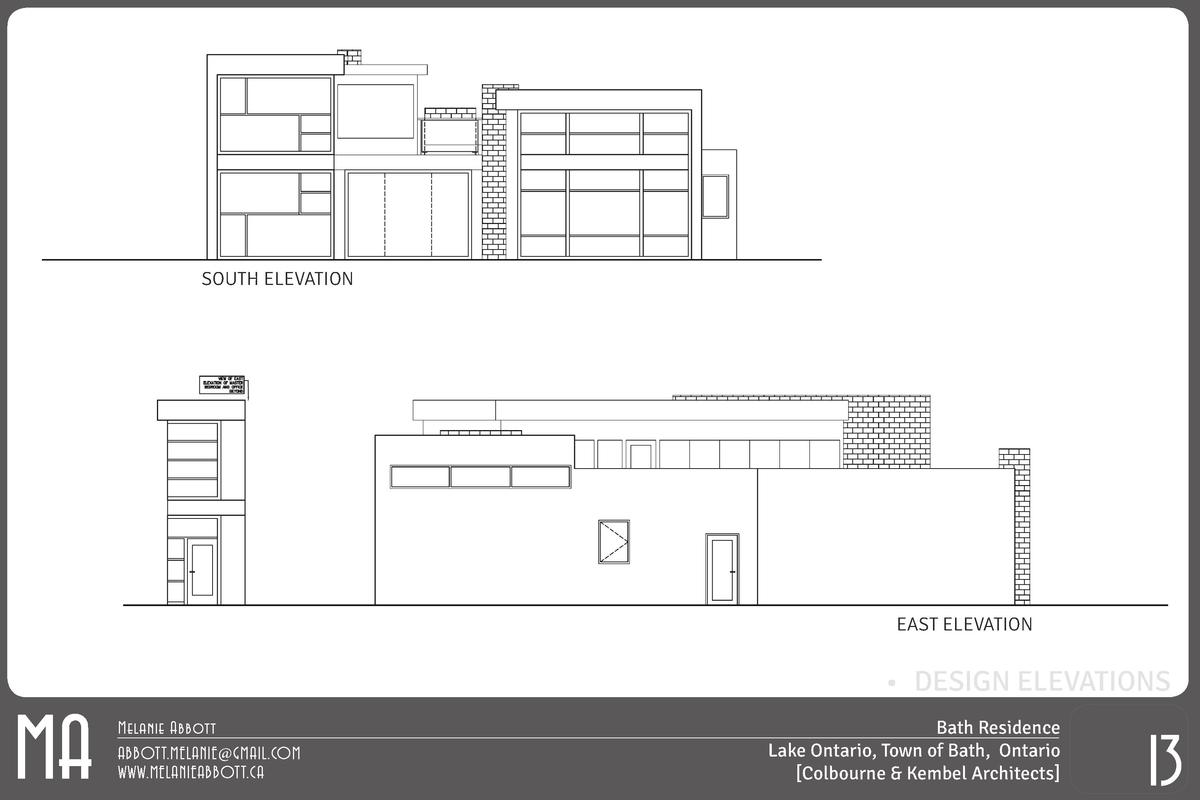 SOUTH ELEVATION  EAST ELEVATION       DESIGN ELEVATIONS  MA  Melanie Abbott ABBOTT.MELANIE GMAIL.COM WWW.MELANIEABBOTT.CA ...