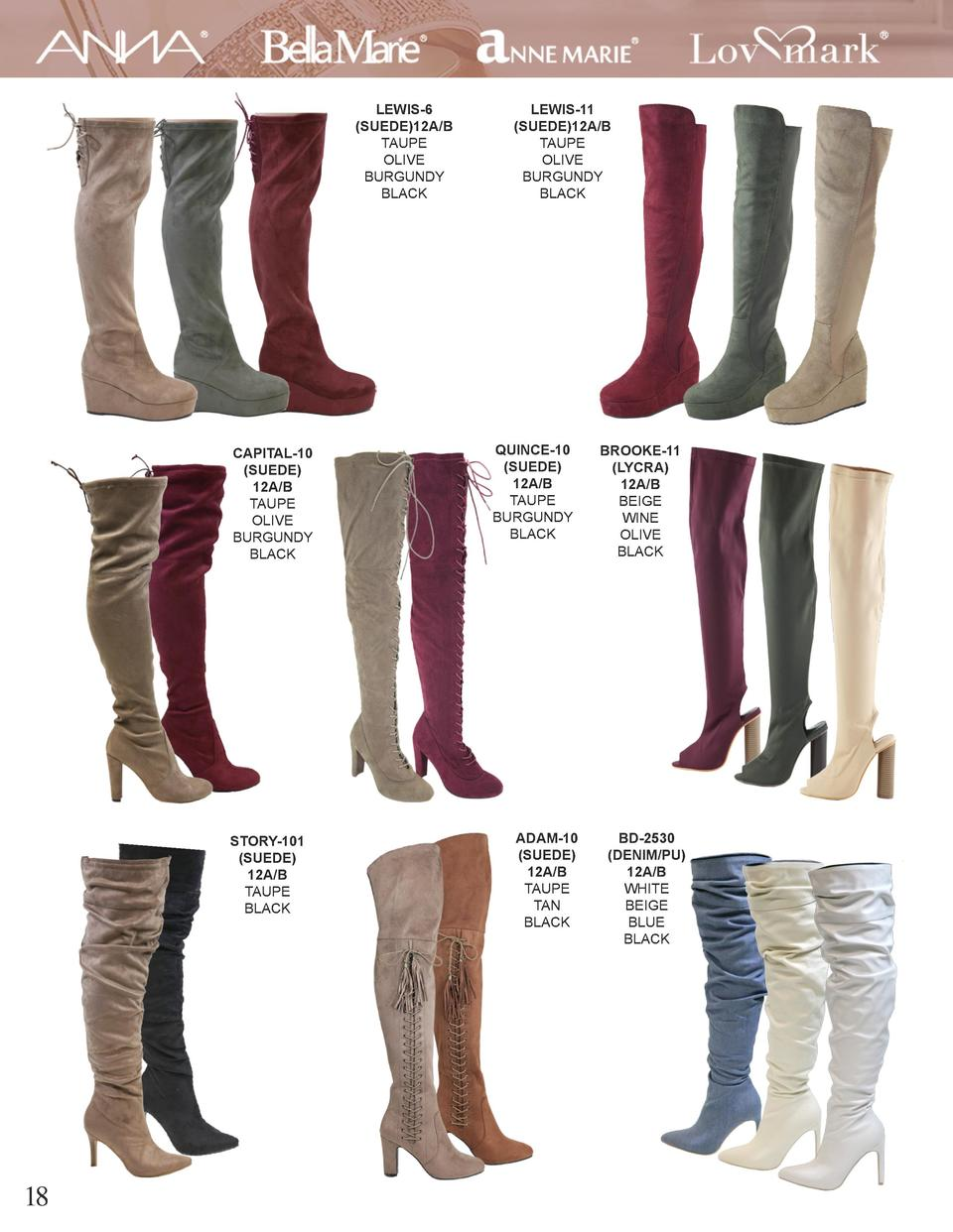 LEWIS-6  SUEDE 12A B TAUPE OLIVE BURGUNDY BLACK  CAPITAL-10  SUEDE  12A B TAUPE OLIVE BURGUNDY BLACK  STORY-101  SUEDE  12...