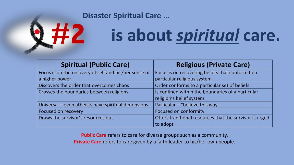 Disaster Spiritual Care       2  is about spiritual care.  Spiritual  Public Care   Religious  Private Care   Focus is on ...