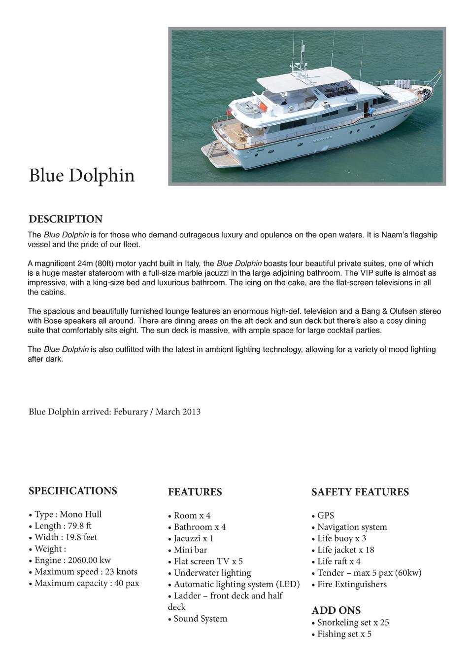 Blue Dolphin DESCRIPTION The Blue Dolphin is for those who demand outrageous luxury and opulence on the open waters. It is...