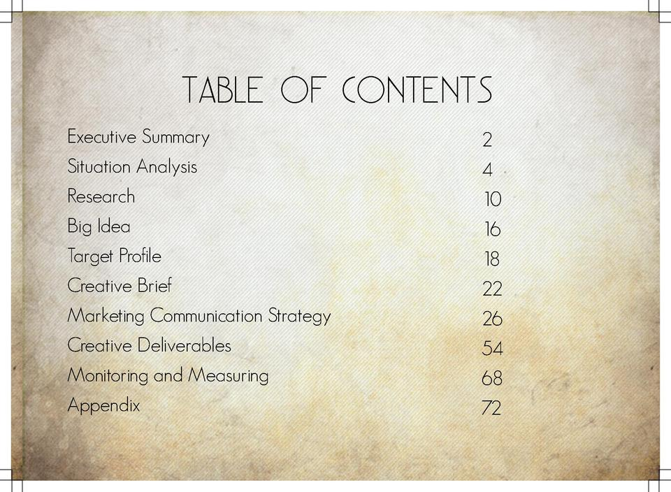 Table of Contents Executive Summary Situation Analysis Research Big Idea Target Profile Creative Brief Marketing Communica...