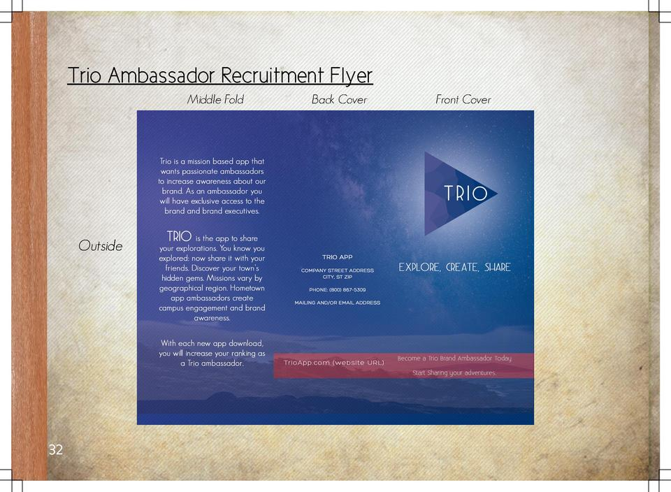 Trio Ambassador Recruitment Flyer Middle Fold  Outside  32  Back Cover  Front Cover