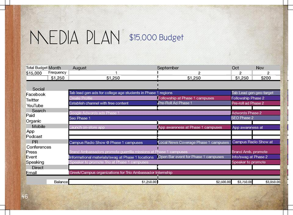 Media Plan Total Budget Month Frequency  15,000  August  Oct 2   1,250  Nov 2   1,250   1,250  2   200  Tab lead gen ads f...