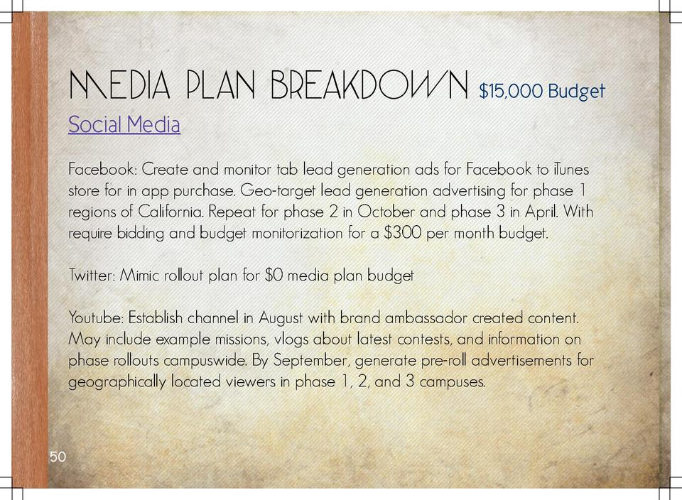 Media Plan Breakdown   15,000 Budget  Social Media Facebook  Create and monitor tab lead generation ads for Facebook to Tu...