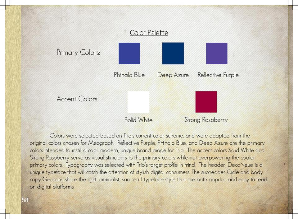 Color Palette Primary Colors  Phthalo Blue  Deep Azure  Reflective Purple  Accent Colors  Solid White  Strong Raspberry   ...