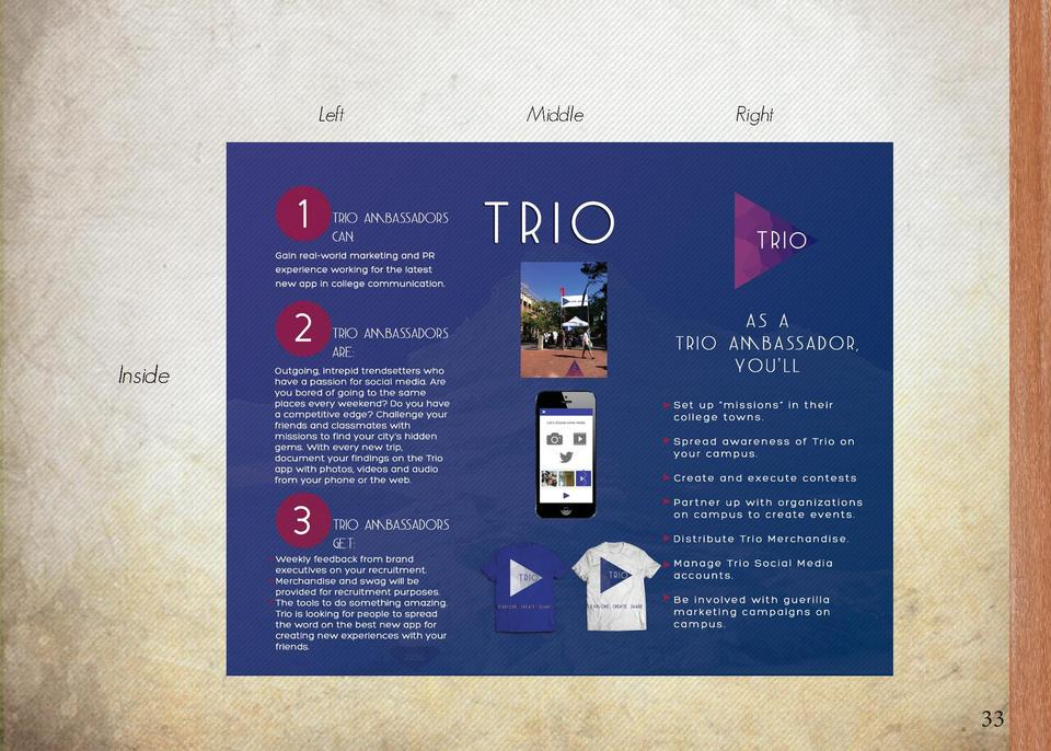 Trio Ambassador Recruitment Flyer Middle Fold  Outside  32  Back Cover  Left  Front Cover  Middle  Right  Inside  33