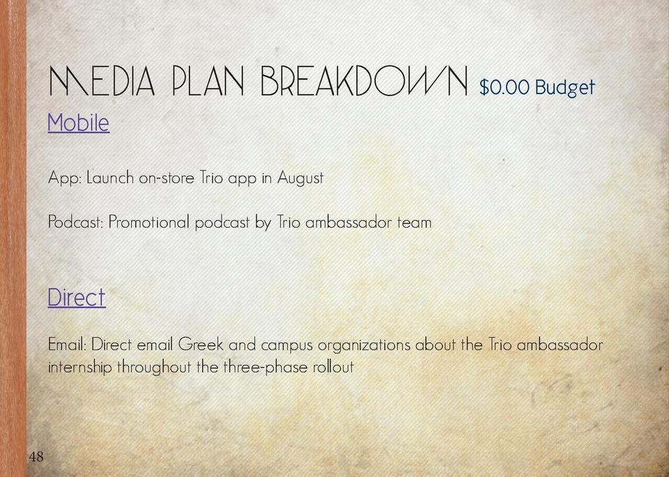 Media Plan Breakdown   0.00 Budget  Mobile App  Launch on-store Trio app in August Podcast  Promotional podcast by Trio am...