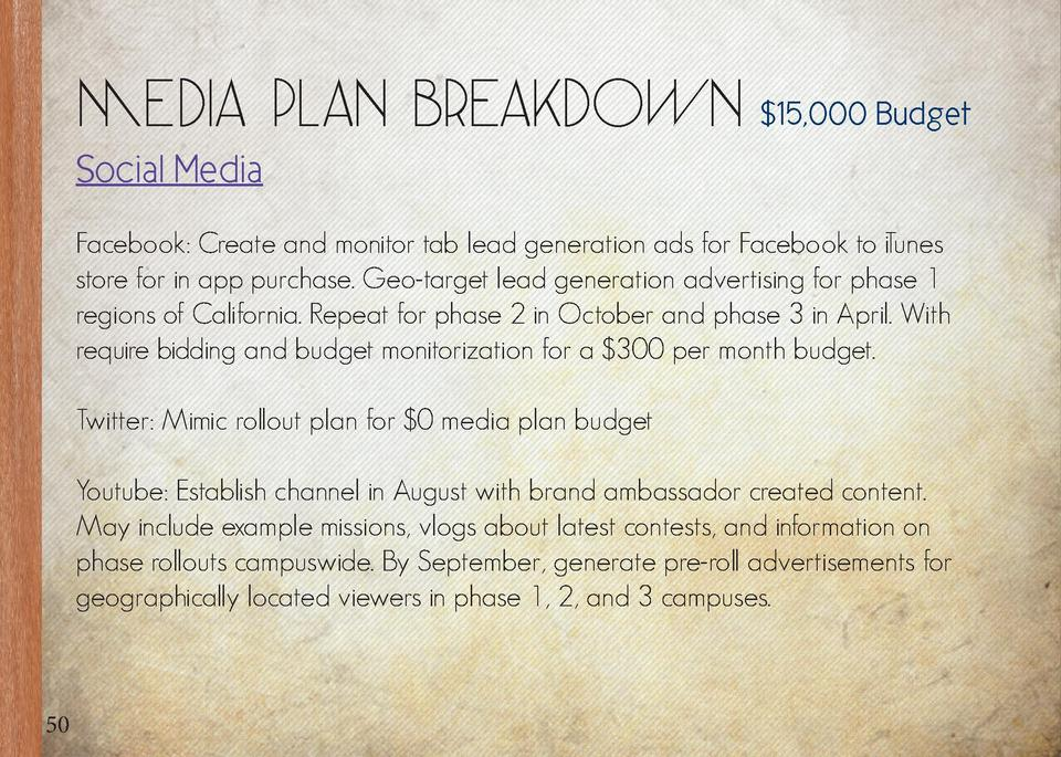 Media Plan Breakdown   15,000 Budget  Mobile  Social Media Facebook  Create and monitor tab lead generation ads for Facebo...