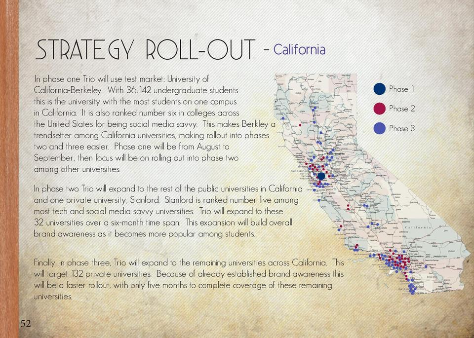 Strategy Roll-Out - California In phase one Trio will use test market  University of California-Berkeley. With 36,142 unde...