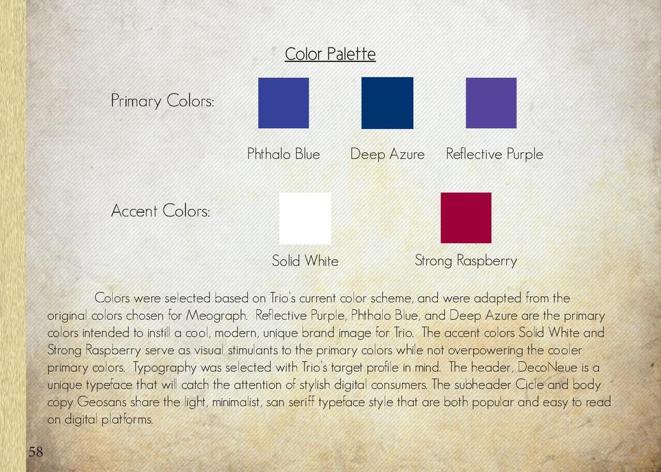 Color Palette  Typography Header   Primary Colors  Phthalo Blue  Deep Azure  Reflective Purple  DecoNeue Light       Subhe...