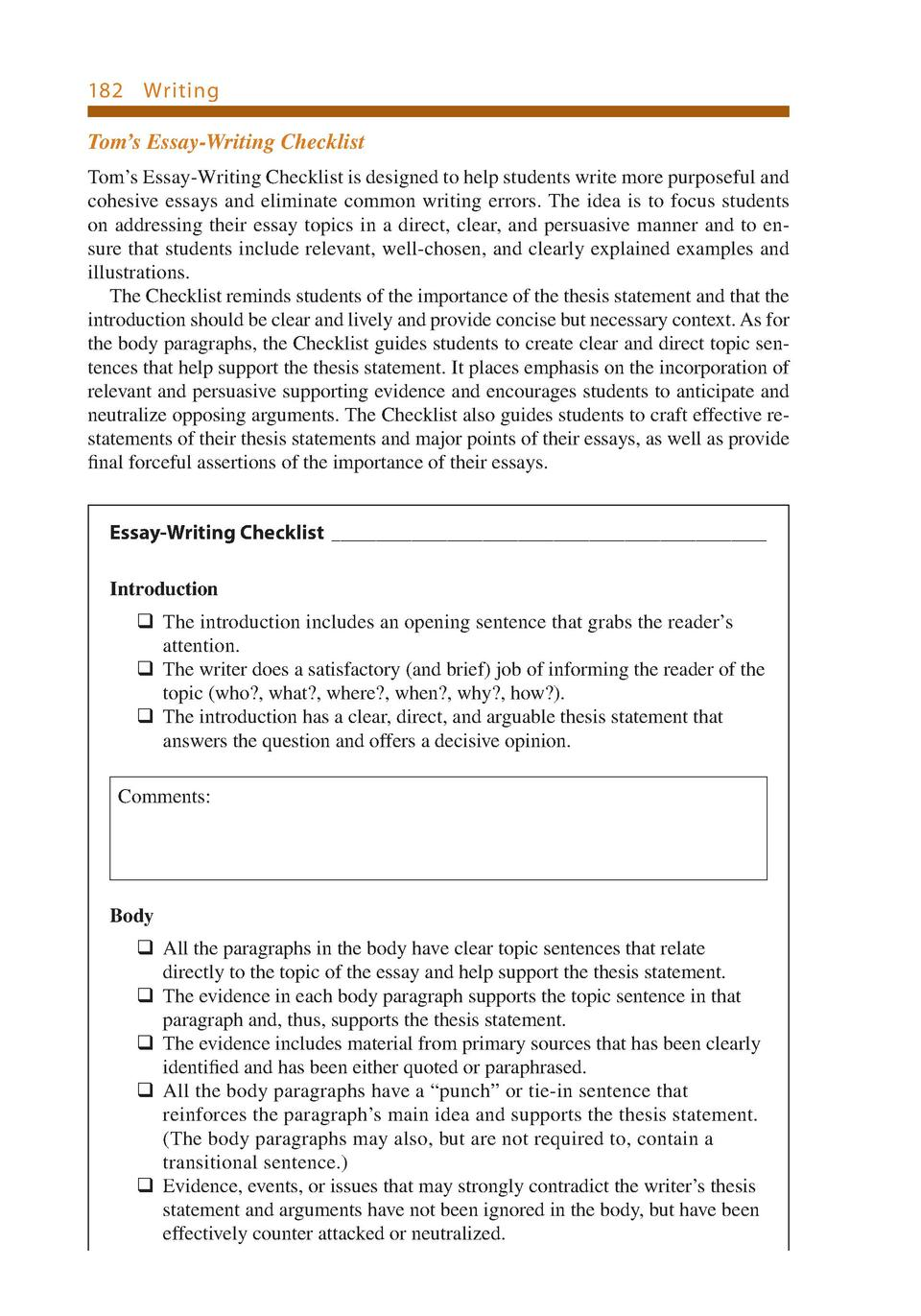 ett writing chapter com 182 writing tom s essay writing checklist tom s essay writing checklist is designed introduction