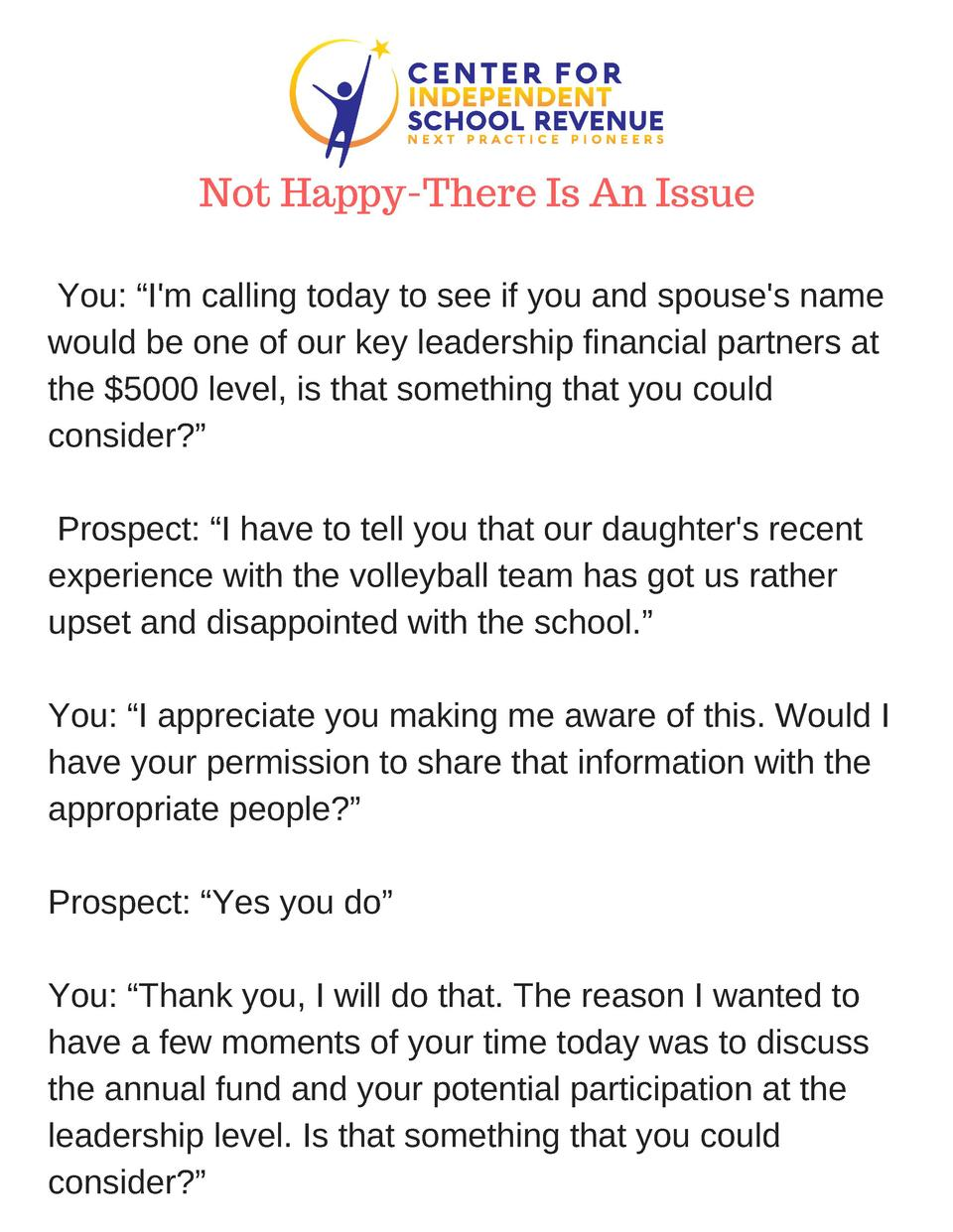 Not Happy-There Is An Issue You     I m calling today to see if you and spouse s name would be one of our key leadership f...