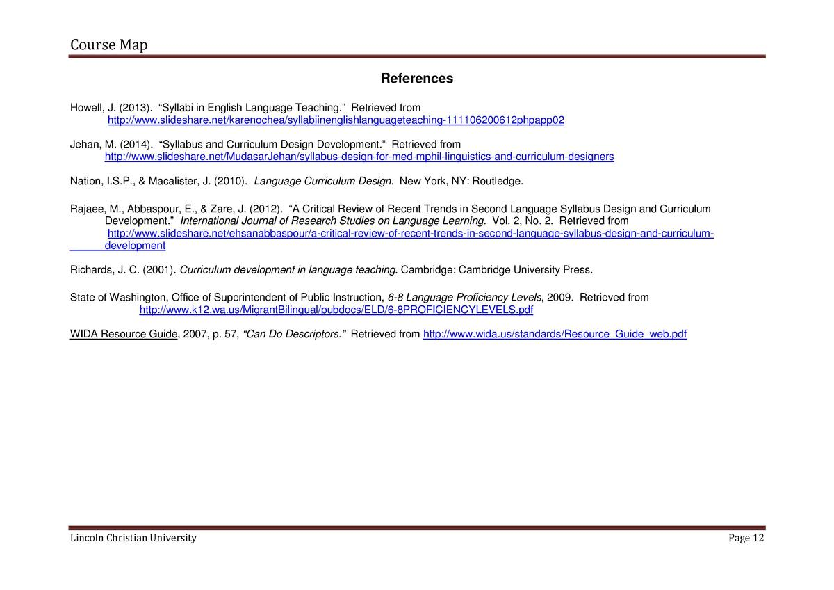Course Map References Howell, J.  2013 .    Syllabi in English Language Teaching.    Retrieved from http   www.slideshare....