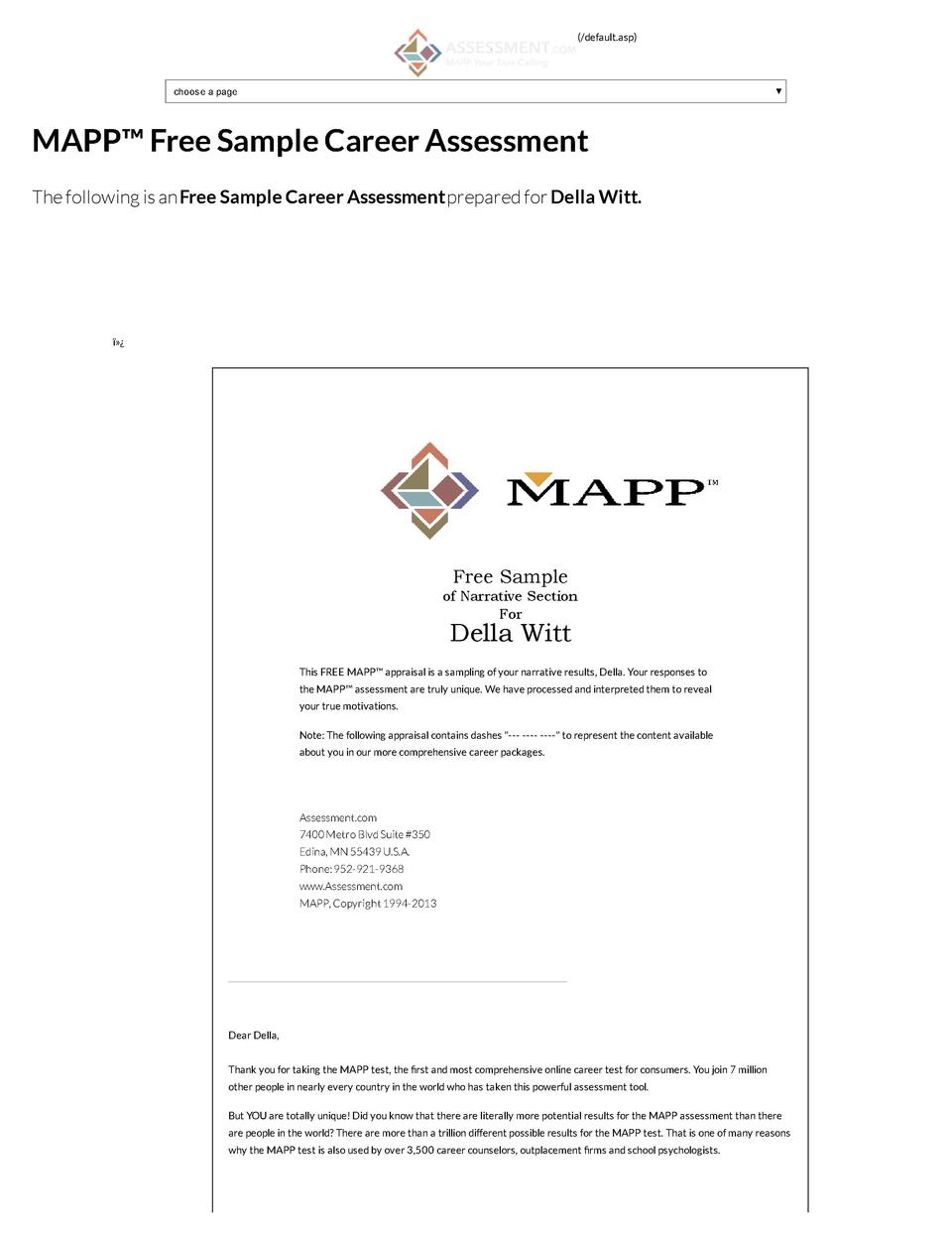 default.asp   choose a page  MAPP    Free Sample Career Assessment The following is an Free Sample Career Assessment pre...