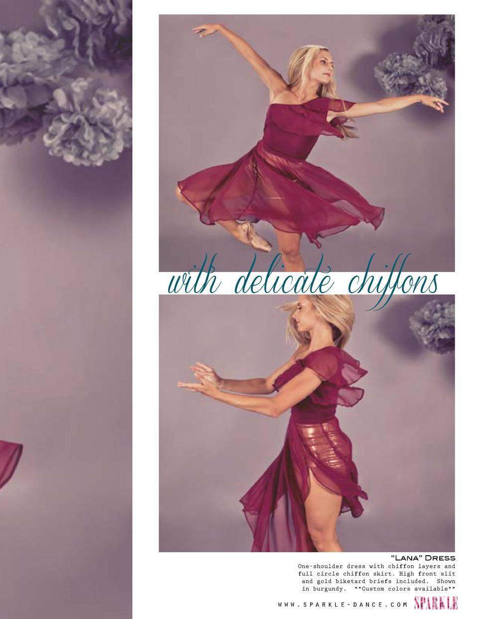with delicate chiffons  Turn on your style www.sparkle-dance.com     Lana    Dress One-shoulder dress with chiffon layers ...