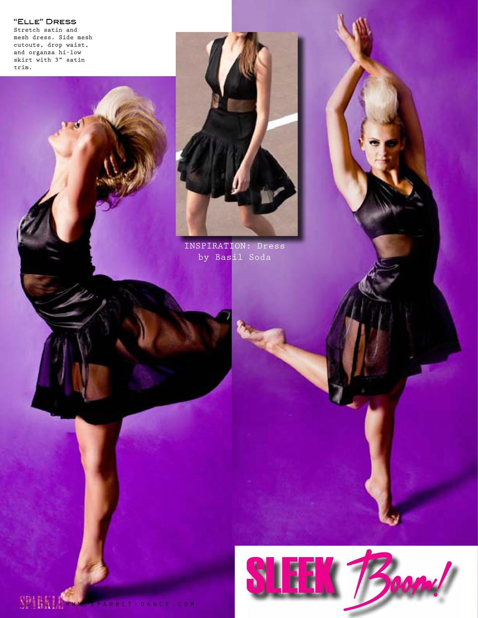 Strong and Fierce      Elle    Dress Stretch satin and mesh dress. Side mesh cutouts, drop waist, and organza hi-low skirt...