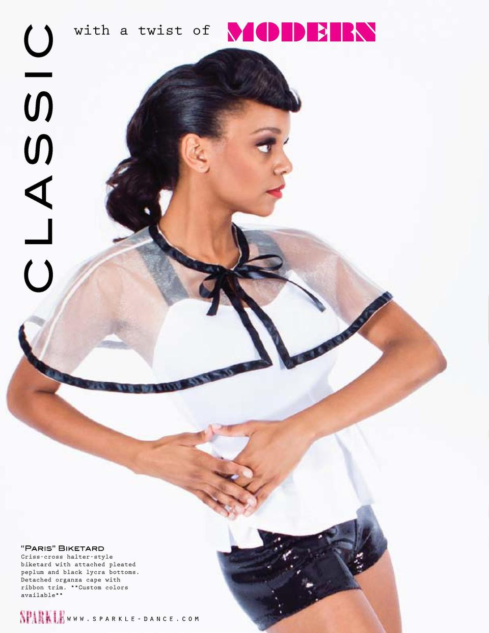 CLASSIC     Paris    Biketard Criss-cross halter-style biketard with attached pleated peplum and black lycra bottoms. Deta...