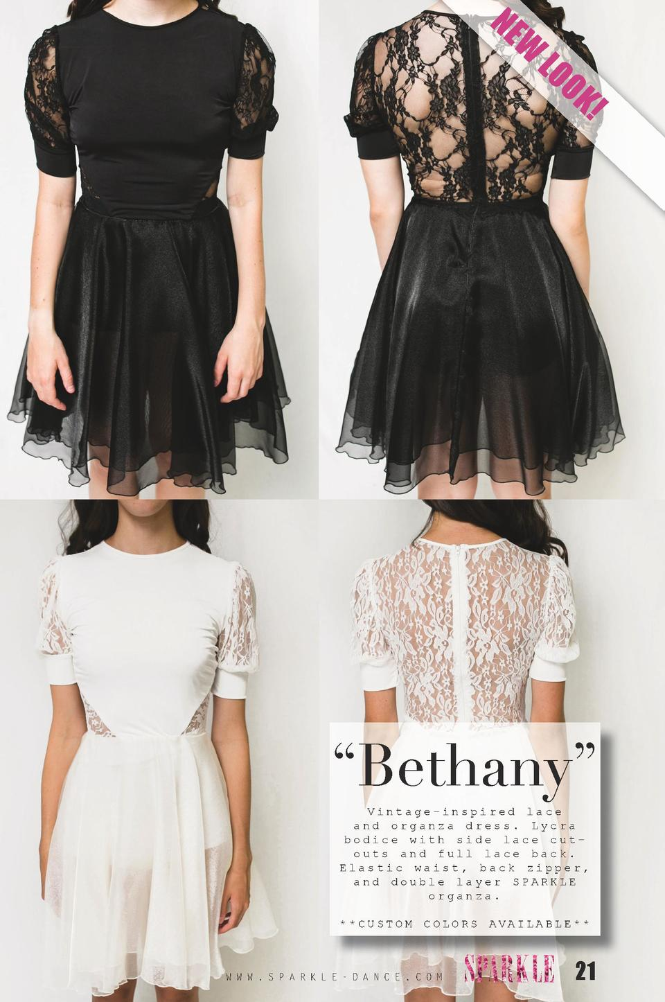 NE  W  LO O  K      Bethany    Vintage-inspired lace and organza dress. Lycra bodice with side lace cutouts and full lace ...
