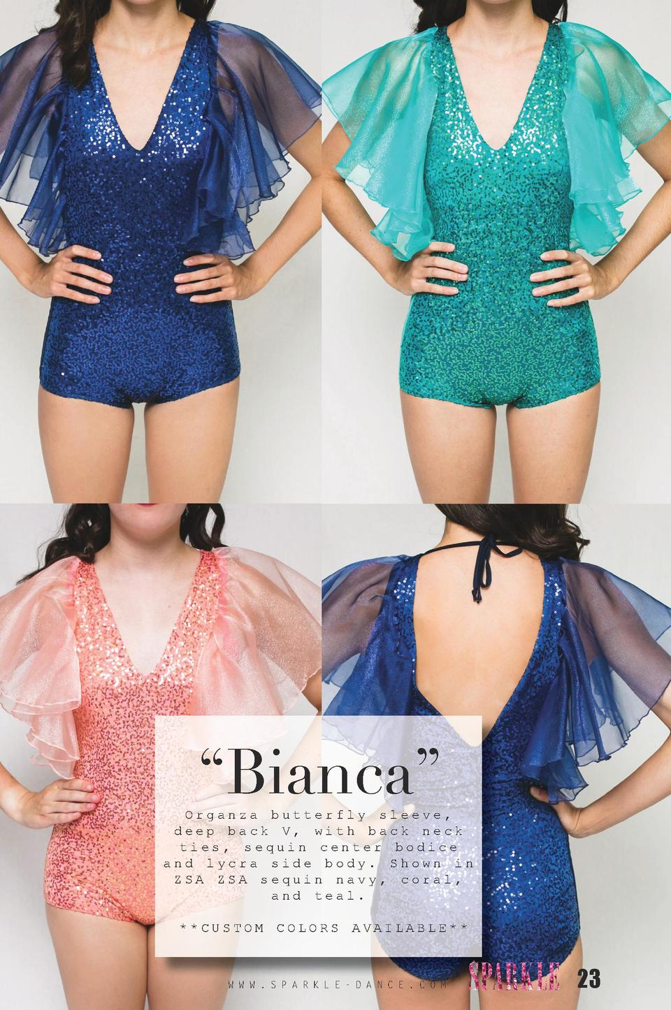Bianca     Organza butterfly sleeve, deep back V, with back neck ties, sequin center bodice and lycra side body. Shown ...