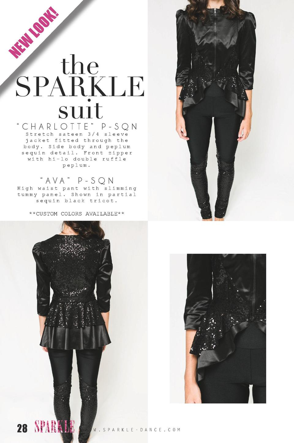 K  LO O W NE  the SPARKLE suit    CHARLOTTE    P-SQN Stretch sateen 3 4 sleeve jacket fitted through the body. Side body a...