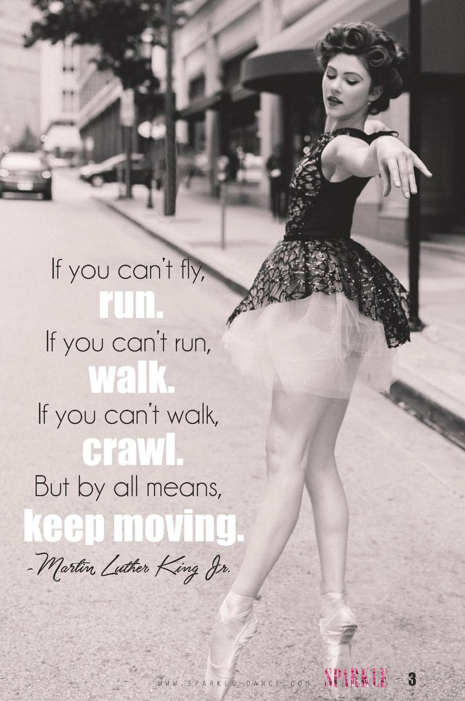 If you can   t fly,  run.  If you can   t run,  walk.  If you can   t walk,  crawl.  But by all means,  keep moving. -Mart...