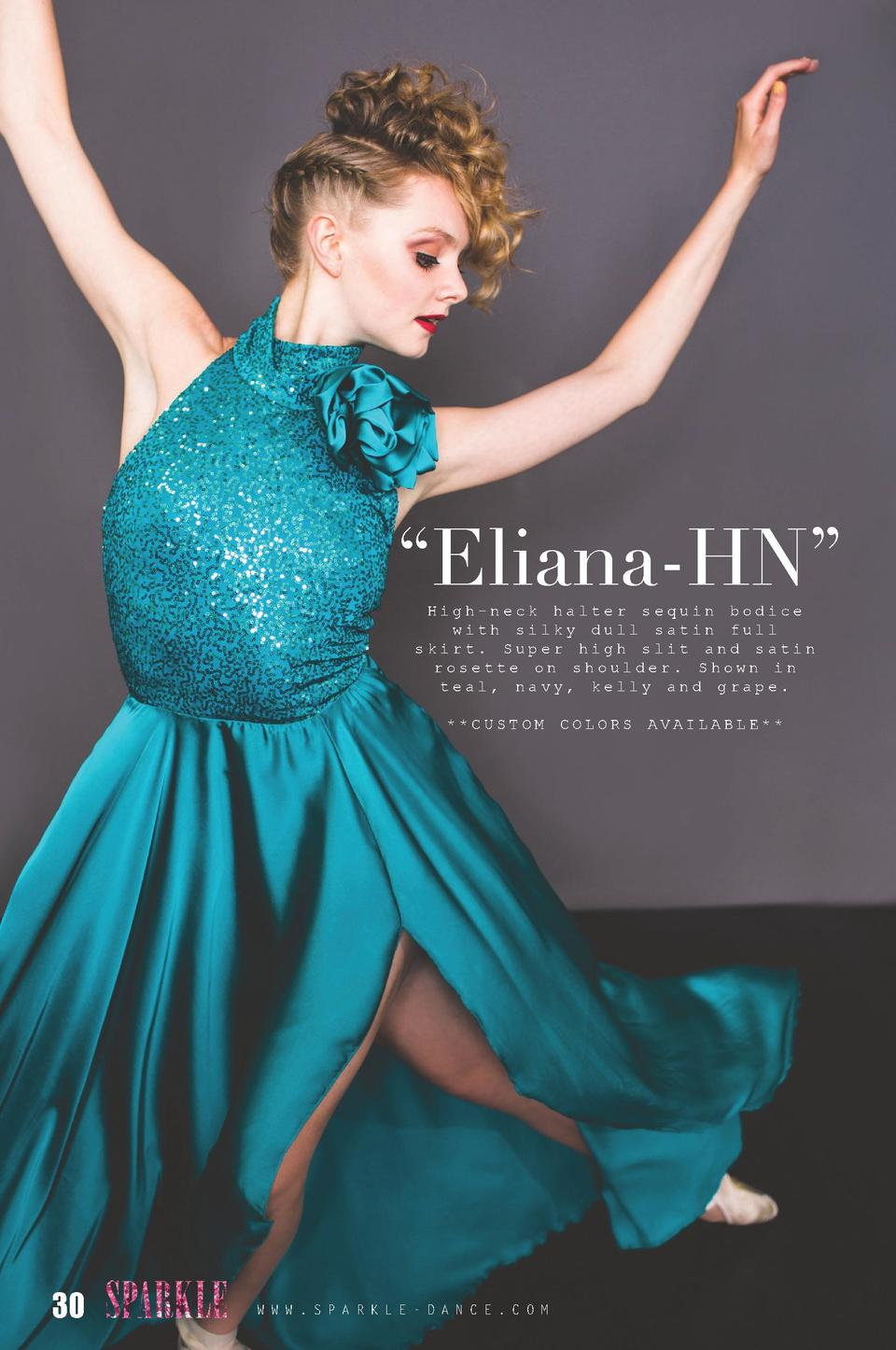 Eliana-HN    High-neck halter sequin bodice with silky dull satin full skirt. Super high slit and satin rosette on shou...
