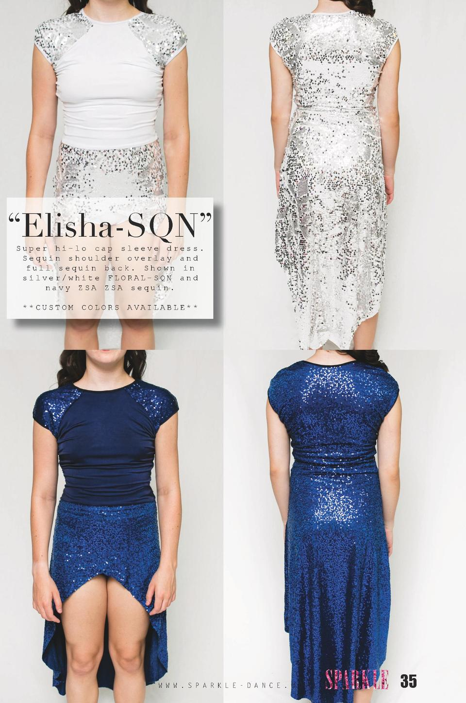 Elisha-SQN    Super hi-lo cap sleeve dress. Sequin shoulder overlay and full sequin back. Shown in silver white FLORAL-...