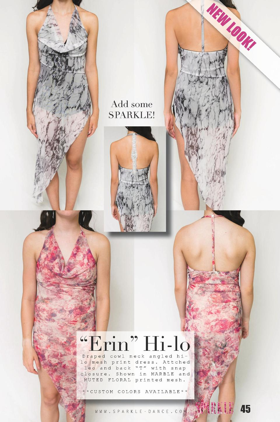NE  W  LO O  K   Add some SPARKLE      Erin    Hi-lo Draped cowl neck angled hilo mesh print dress. Attched leo and back  ...