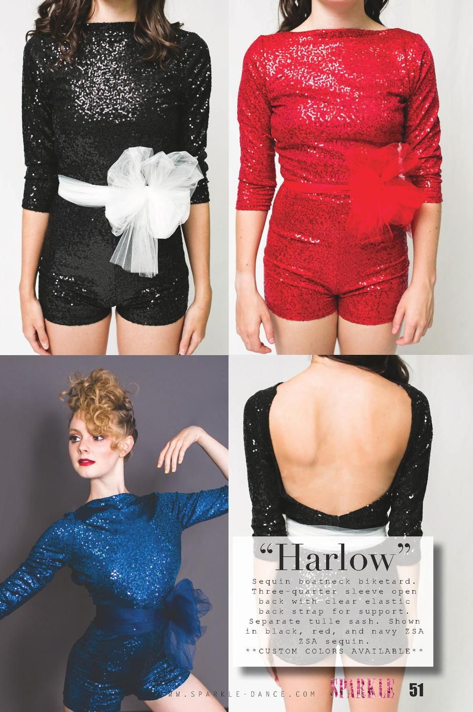 Harlow     Sequin boatneck biketard. Three-quarter sleeve open back with clear elastic back strap for support. Separate...