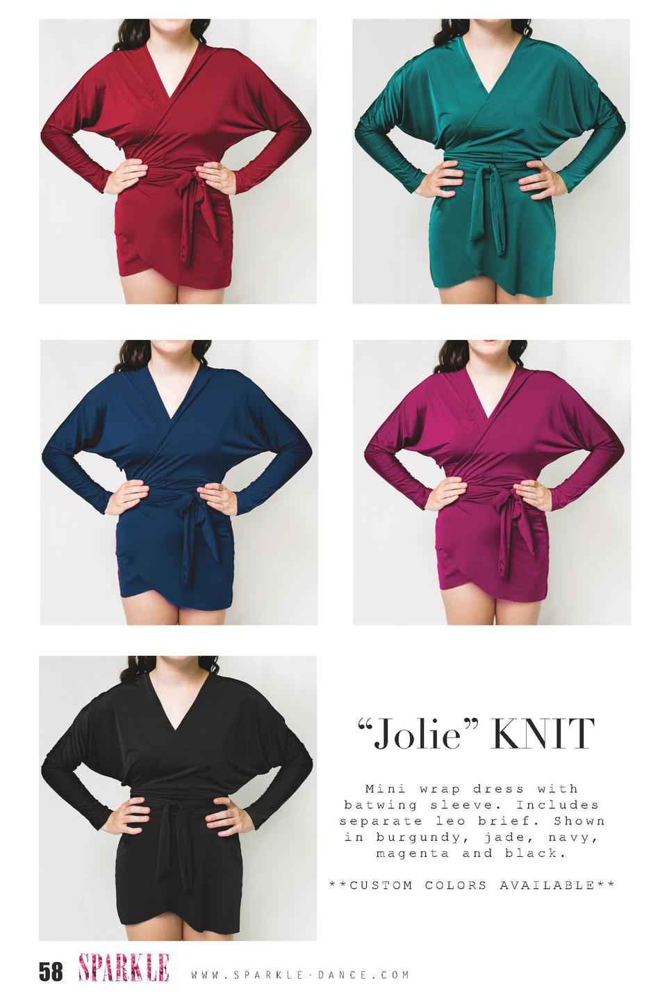Jolie    KNIT Mini wrap dress with batwing sleeve. Includes separate leo brief. Shown in burgundy, jade, navy, magenta ...