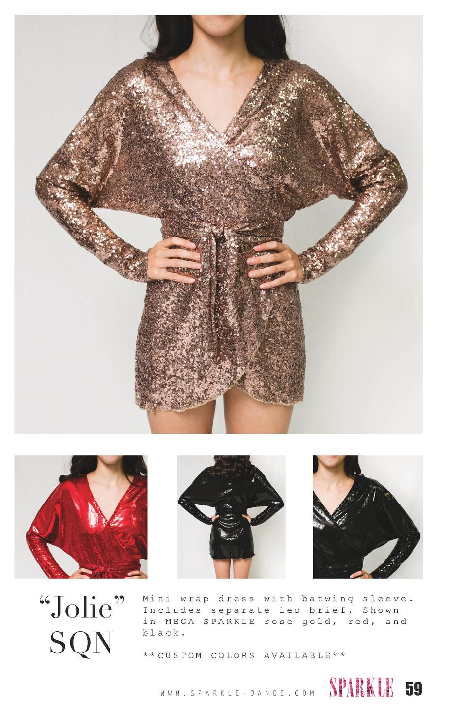 Jolie    SQN  Mini wrap dress with batwing sleeve. Includes separate leo brief. Shown in MEGA SPARKLE rose gold, red, a...