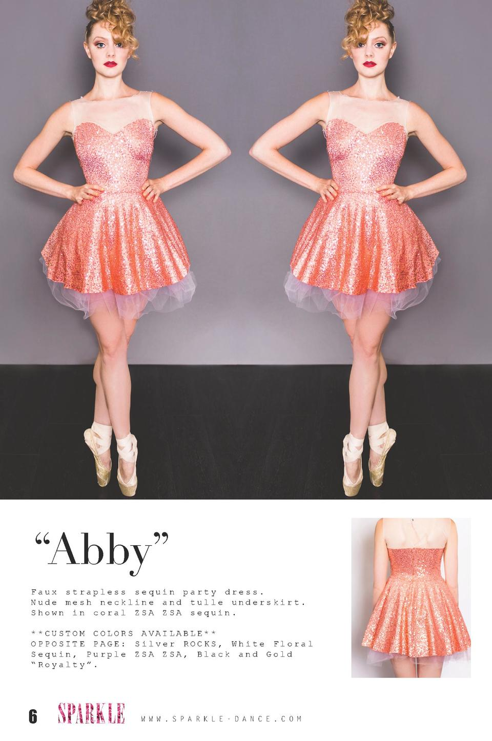 Abby    Faux strapless sequin party dress. Nude mesh neckline and tulle underskirt. Shown in coral ZSA ZSA sequin.   CU...