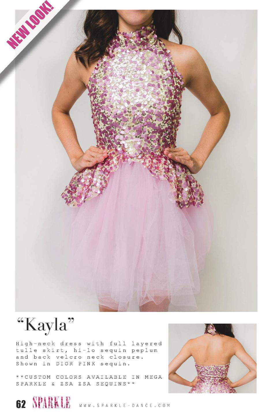 K  LO O W NE     Kayla    High-neck dress with full layered tulle skirt, hi-lo sequin peplum and back velcro neck closure....